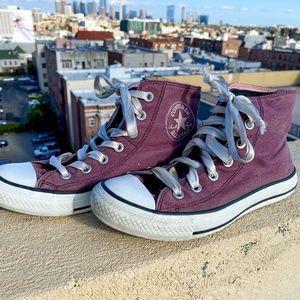 Converse Double Upper Hi Top Shoes Chucks Burgundy